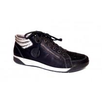 Vycházková obuv-kotníková, Ara, Seattle, šíře G, černo-stříbrná