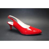 Letní vycházková obuv, De-Plus, šíře G 1/2, červený lak
