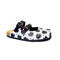 Letní vycházkové pantofle, Dr. Brinkmann, černo-bílá kytka