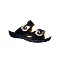 Letní vycházkové pantofle-flexiblová obuv, Dr. Brinkmann, černo-stříbrná