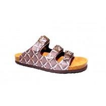 Letní vycházkové pantofle, Dr. Brinkmann, hnědá+retro motiv
