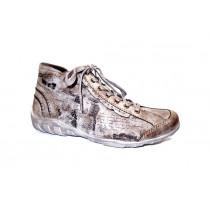 Zimní vycházková obuv-kotníková, Remonte, šedohnědá+potisk