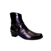 Zimní vycházková obuv-kotníková, De-Plus, šíře G 1/2, černá