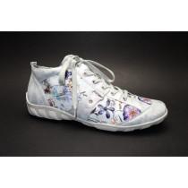 Vycházková obuv-kotníková, Remonte, světle šedo-stříbrná+kytky