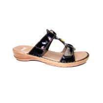 Letní vycházkové pantofle-flexiblové, Ara, Hawaii, šíře G, černá