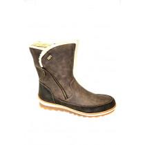 Zimní vycházková obuv-polokozačky, Remonte, šedohnědá