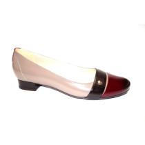 Vycházková obuv-lodičky, De-Plus, šíře G 1/2, béžovo-hnědo-bordó