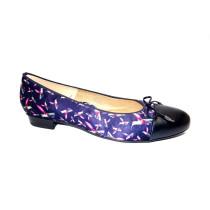 Vycházková obuv-baleríny, Ara, Bari, šíře F1/2, tmavě modrá+potisk