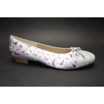 Vycházková obuv-baleríny, Ara, Bari, šíře F1/2, stříbrná+potisk