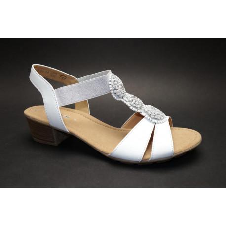 Letní vycházková obuv, Gabor, bílo-stříbrná
