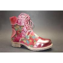 Zimní vycházková obuv-kotníková, Manitu, červená+kytky