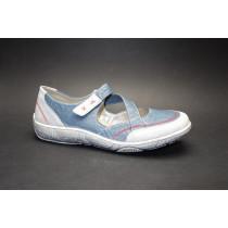 Vycházková obuv-baleríny, Remonte, modro-světle šedá