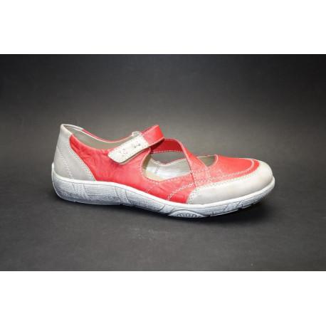 Vycházková obuv-baleríny, Remonte, červeno-šedá