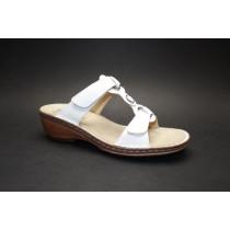 Letní vycházkové pantofle-flexiblové, Ara, Key-West, šíře G, bílá