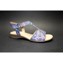 Letní vycházková obuv, Gabor, šíře G, modrá+kytky