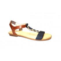 Letní vycházková obuv, Rieker, tmavě modrá/přírodní