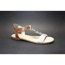 Letní vycházková obuv, Rieker, šedá/přírodní