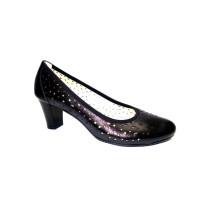 Letní vycházková obuv-lodičky, De-Plus, šíře G, černá