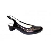Letní vycházková obuv, De-Plus, šíře G, černá
