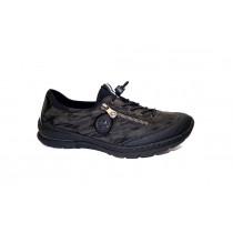 Vycházková obuv-flexiblová, Rieker, černá