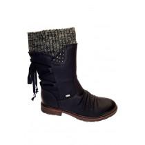 Zimní vycházková obuv-polokozačky, Rieker, černá