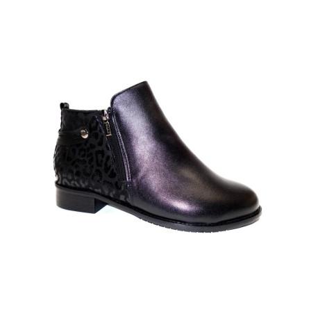 Zimní vycházková obuv-kotníková, De-Plus, šíře K, černá