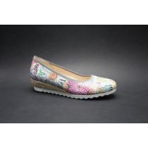 Vycházková obuv-lodičky, Gabor, šíře G, šedá+kytky