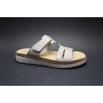 Letní vycházková obuv-pantofle, Remonte, šedobéžová