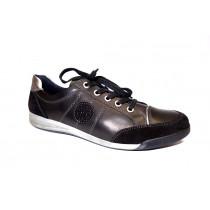 Vycházková obuv, Ara, Rom, šíře G, černo-stříbrná