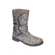Zimní vycházková obuv-polokozačky, Remonte, šedá