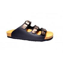 Letní vycházkové pantofle, Dr. Brinkmann, černá+listy