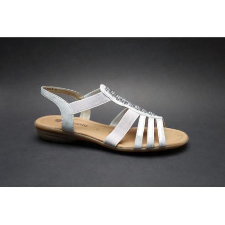 Letní vycházková obuv, Remonte, bílo-stříbrná