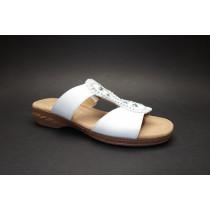 Letní vycházkové pantofle, Gabor, šíře H, bílá