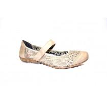 Letní vycházková obuv flexiblová-baleríny, Rieker, šedobéžová+potisk
