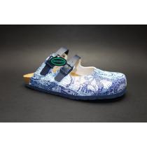 Letní vycházkové pantofle, Dr. Brinkmann, modro-bílá+potisk