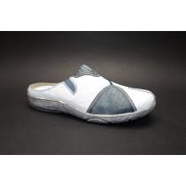 Letní vycházková obuv-pantofle, Remonte, bílo-šedomodrá