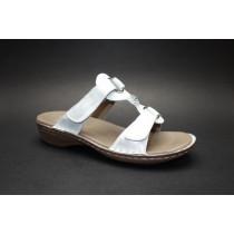 Letní vycházkové pantofle-flexiblové, Ara, Hawaii, šíře G, stříbrná