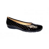 Letní vycházková obuv-baleríny, Gabor, černý lak